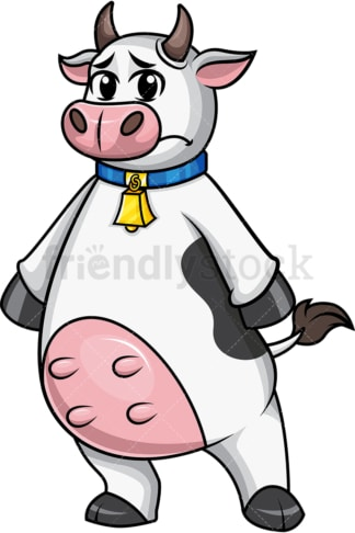 Sad cow mascot. PNG - JPG and vector EPS file formats.