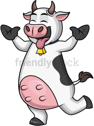 Funny cow mascot being silly. PNG - JPG and vector EPS file formats.