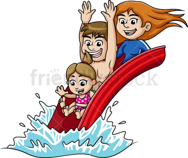 Parents and child having fun on a water slide. PNG - JPG and vector EPS file formats.