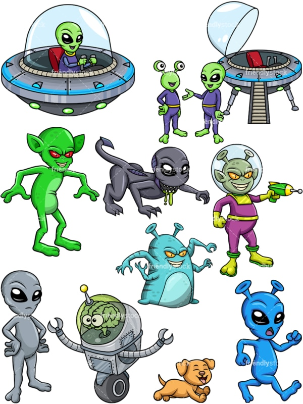 Alien creatures vector collection. Transparent PNG - JPG and vector EPS (infinitely scalable).