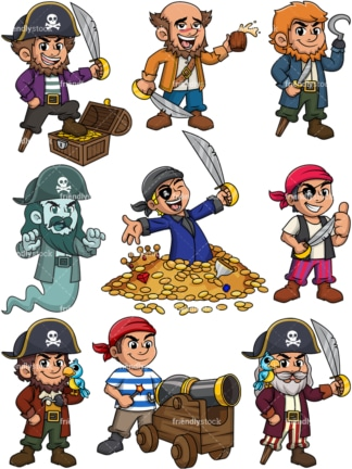 Cartoon pirates. Transparent PNGs - JPGs and vector EPS files (infinitely scalable).