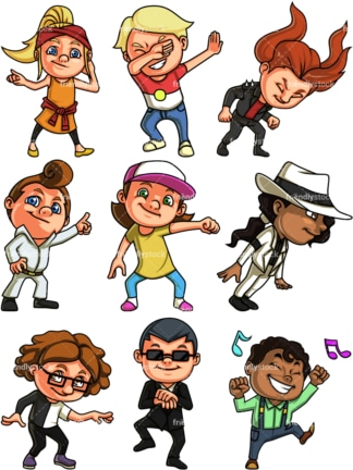 Kids dancing. PNG - JPG and vector EPS file formats (infinitely scalable).