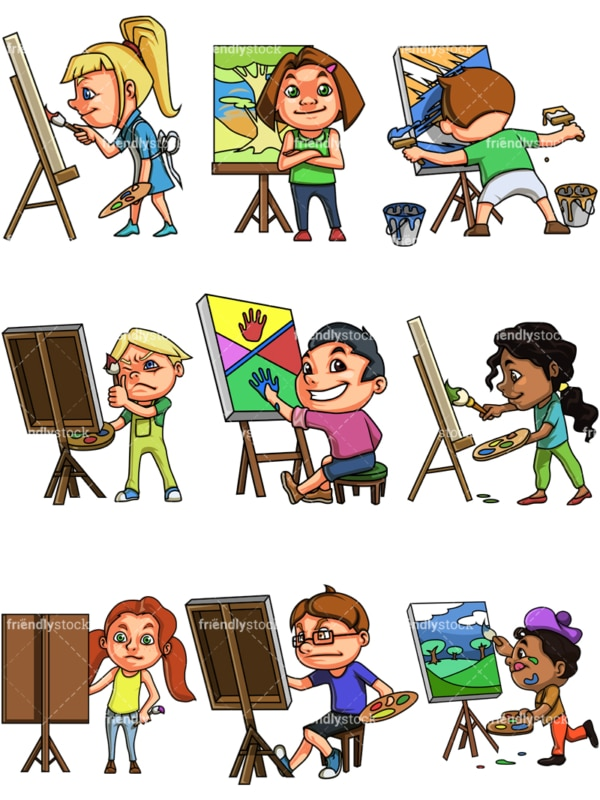 Kids painting on canvas. PNG - JPG and vector EPS. Images isolated on transparent background.