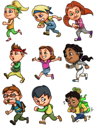 Kids running. PNG - JPG and vector EPS file formats (infinitely scalable). Image isolated on transparent background.
