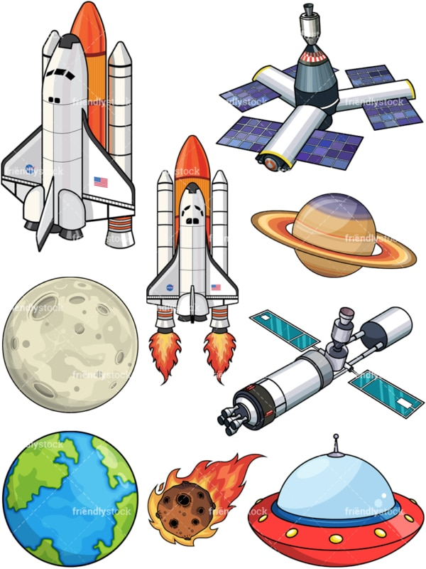 Space objects vector set. PNG - JPG and EPS - PDF file formats (infinitely scalable).