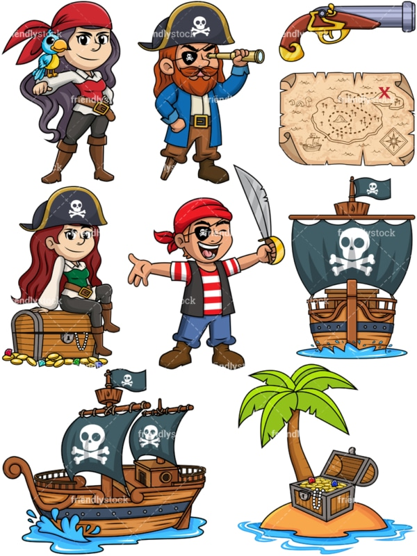 Pirates clipart collection in vector format. PNG and JPG files also included.