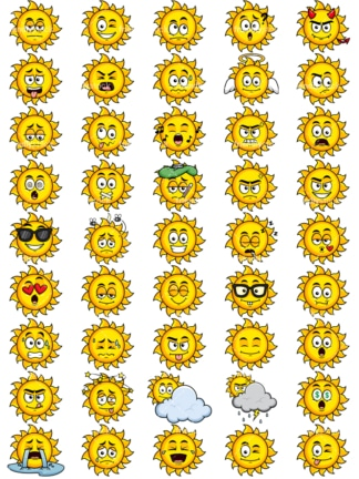 Sun emoticons bundle. PNG - JPG and vector EPS file formats (infinitely scalable). Images isolated on transparent background.