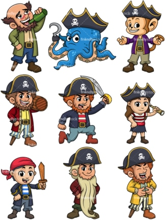 Vector pirates. PNG - JPG and vector EPS file formats (infinitely scalable). Images isolated on transparent background.