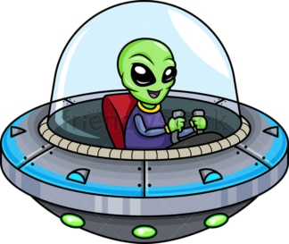 Alien piloting a flying saucer. Transparent PNG - JPG - vector EPS (infinitely scalable).