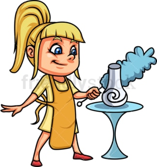 Blonde little girl dusting. PNG - JPG and vector EPS (infinitely scalable).