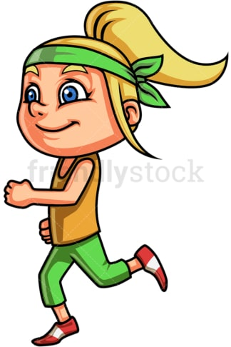 Blonde little girl running. PNG - JPG and vector EPS (infinitely scalable). Image isolated on transparent background.