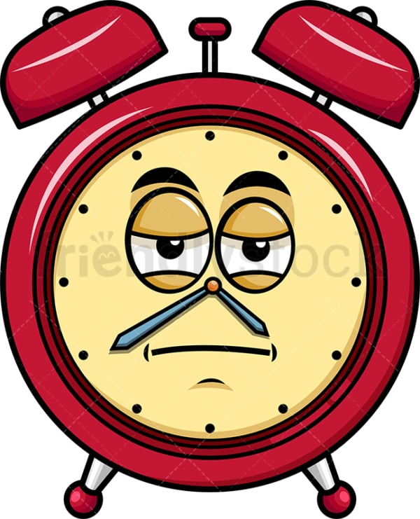 Heavy eyes alarm clock emoticon. PNG - JPG and vector EPS file formats (infinitely scalable). Image isolated on transparent background.