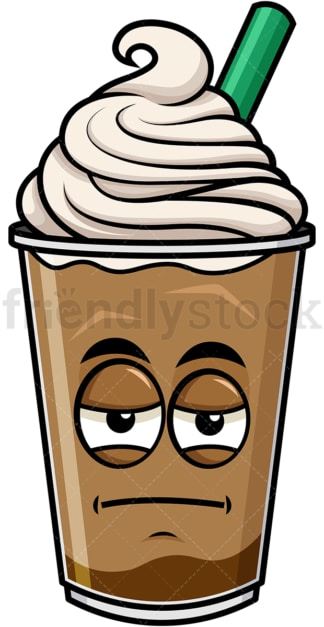 Heavy eyes iced coffee emoticon. PNG - JPG and vector EPS file formats (infinitely scalable). Image isolated on transparent background.