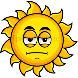 Heavy eyes sun emoticon. PNG - JPG and vector EPS file formats (infinitely scalable). Image isolated on transparent background.