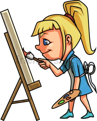 Little girl painting on canvas. PNG - JPG and vector EPS (infinitely scalable).
