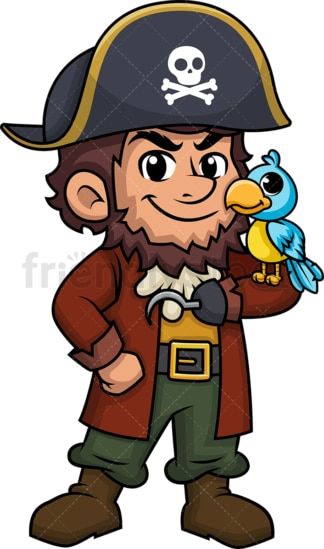 Pirate captain with bird on his shoulder. PNG - JPG and vector EPS (infinitely scalable).