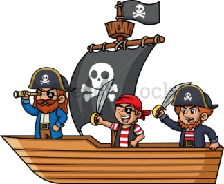 Pirate crew onboard a ship. PNG - JPG and vector EPS (infinitely scalable).