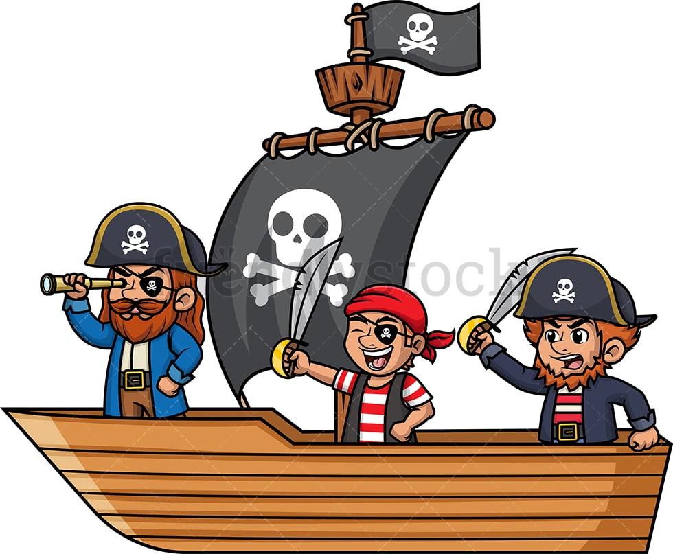 Pirate Crew Aboard Ship Cartoon Vector Clipart