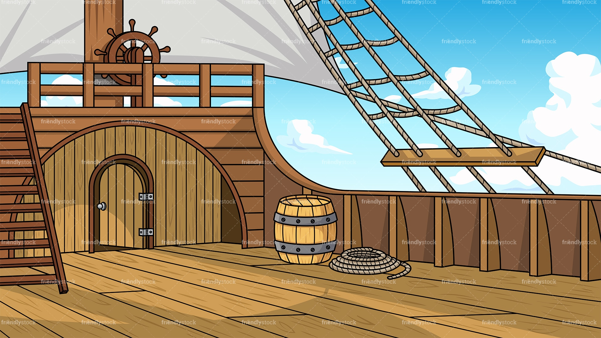 Pirate Ship Deck Background Cartoon Clipart