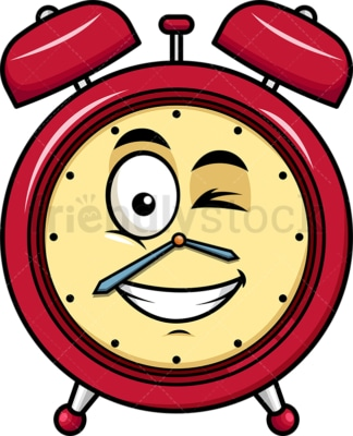 Winking and smiling alarm clock emoticon. PNG - JPG and vector EPS file formats (infinitely scalable). Image isolated on transparent background.