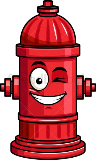 Winking and smiling fire hydrant emoticon. PNG - JPG and vector EPS file formats (infinitely scalable). Image isolated on transparent background.