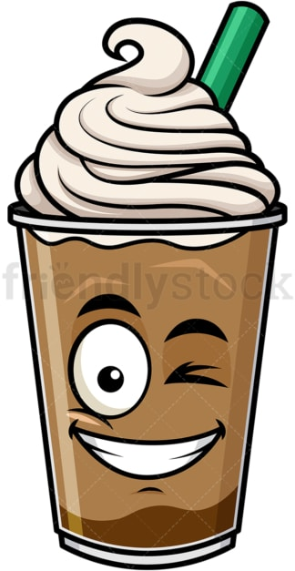 Winking and smiling iced coffee emoticon. PNG - JPG and vector EPS file formats (infinitely scalable). Image isolated on transparent background.