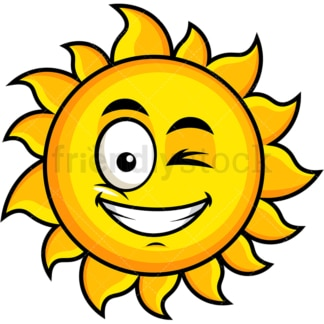 Winking and smiling sun emoticon. PNG - JPG and vector EPS file formats (infinitely scalable). Image isolated on transparent background.