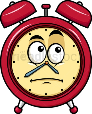 Wondering alarm clock emoticon. PNG - JPG and vector EPS file formats (infinitely scalable). Image isolated on transparent background.