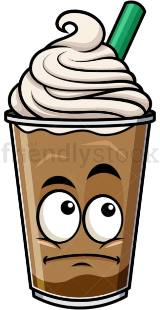 Wondering iced coffee emoticon. PNG - JPG and vector EPS file formats (infinitely scalable). Image isolated on transparent background.