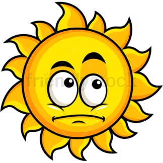 Wondering sun emoticon. PNG - JPG and vector EPS file formats (infinitely scalable). Image isolated on transparent background.