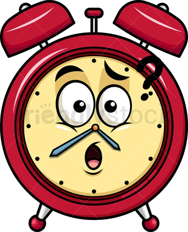 Confused alarm clock emoticon. PNG - JPG and vector EPS file formats (infinitely scalable). Image isolated on transparent background.