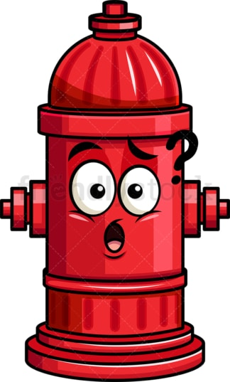 Confused fire hydrant emoticon. PNG - JPG and vector EPS file formats (infinitely scalable). Image isolated on transparent background.