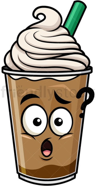 Confused iced coffee emoticon. PNG - JPG and vector EPS file formats (infinitely scalable). Image isolated on transparent background.