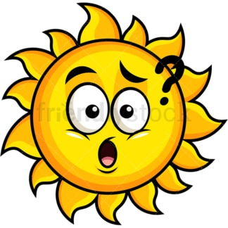 Confused sun emoticon. PNG - JPG and vector EPS file formats (infinitely scalable). Image isolated on transparent background.