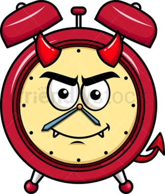 Crafty devil alarm clock emoticon. PNG - JPG and vector EPS file formats (infinitely scalable). Image isolated on transparent background.