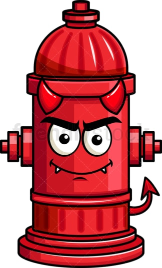 Crafty devil fire hydrant emoticon. PNG - JPG and vector EPS file formats (infinitely scalable). Image isolated on transparent background.
