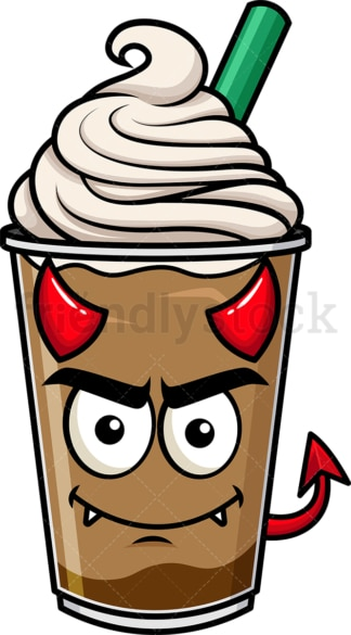 Crafty devil iced coffee emoticon. PNG - JPG and vector EPS file formats (infinitely scalable). Image isolated on transparent background.