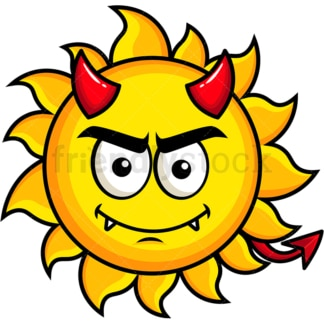 Crafty devil sun emoticon. PNG - JPG and vector EPS file formats (infinitely scalable). Image isolated on transparent background.