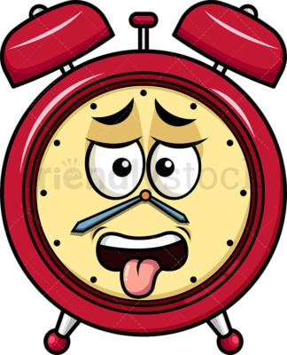 Disgusted alarm clock emoticon. PNG - JPG and vector EPS file formats (infinitely scalable). Image isolated on transparent background.