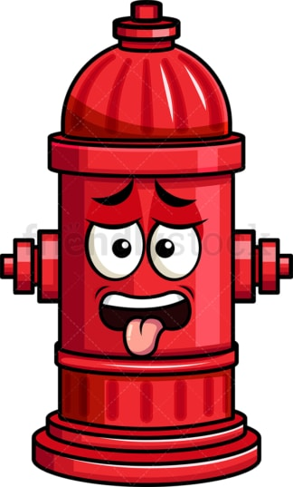 Disgusted fire hydrant emoticon. PNG - JPG and vector EPS file formats (infinitely scalable). Image isolated on transparent background.