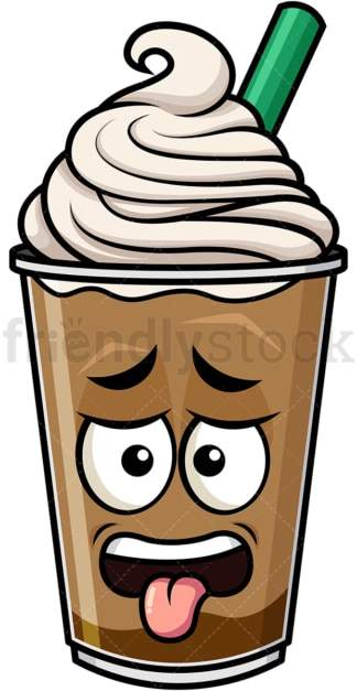 Disgusted iced coffee emoticon. PNG - JPG and vector EPS file formats (infinitely scalable). Image isolated on transparent background.
