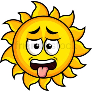 Disgusted sun emoticon. PNG - JPG and vector EPS file formats (infinitely scalable). Image isolated on transparent background.