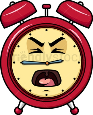 Yelling alarm clock emoticon. PNG - JPG and vector EPS file formats (infinitely scalable). Image isolated on transparent background.
