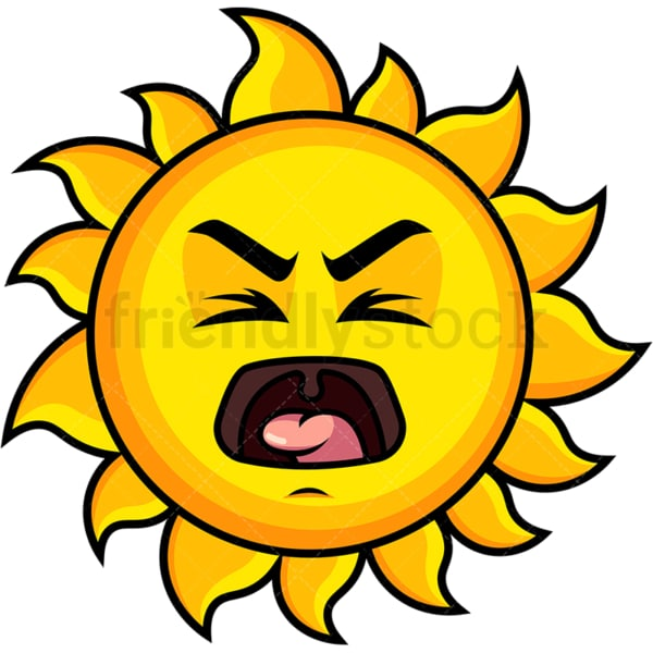 Yelling sun emoticon. PNG - JPG and vector EPS file formats (infinitely scalable). Image isolated on transparent background.