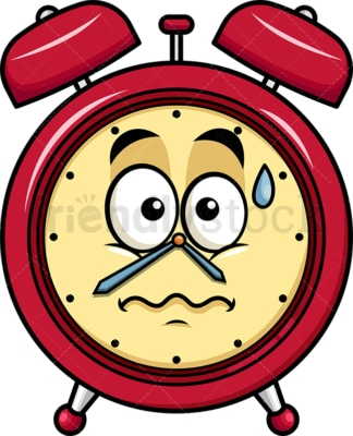 Nervous alarm clock emoticon. PNG - JPG and vector EPS file formats (infinitely scalable). Image isolated on transparent background.