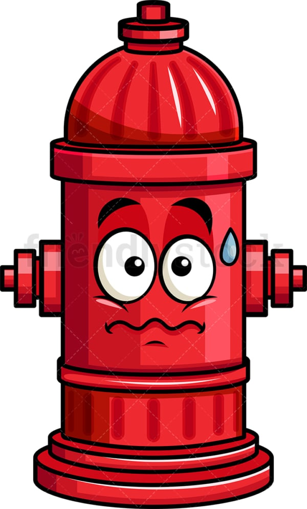 Nervous fire hydrant emoticon. PNG - JPG and vector EPS file formats (infinitely scalable). Image isolated on transparent background.