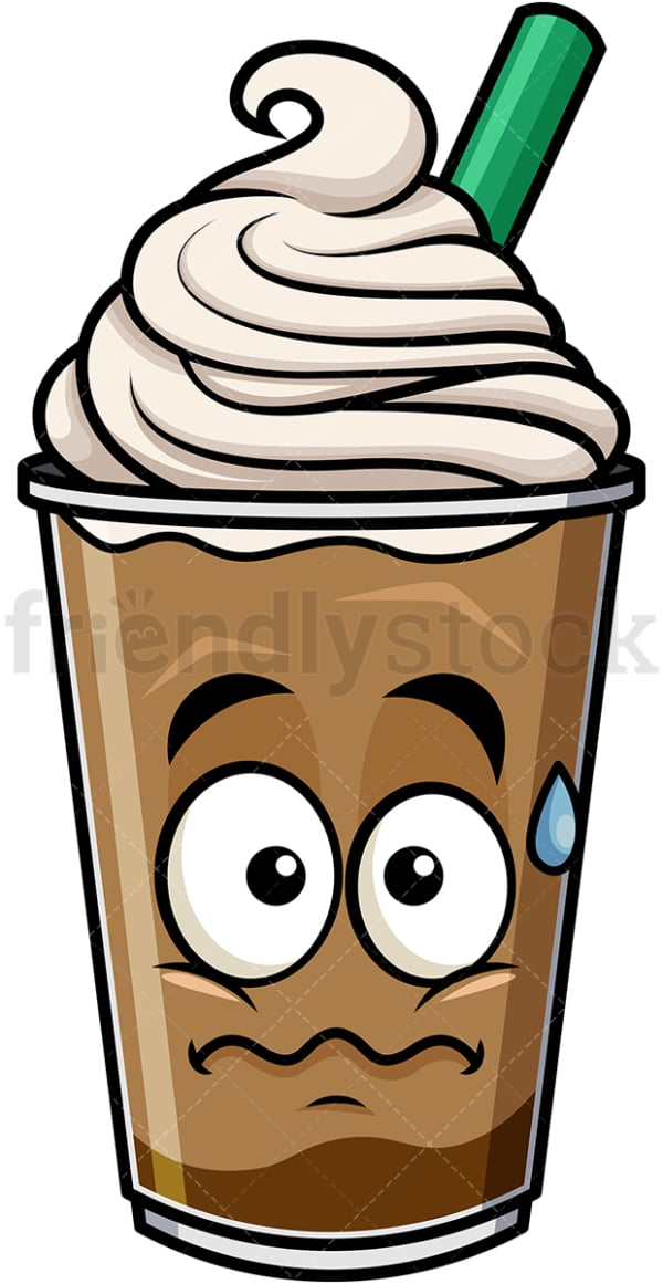 Nervous iced coffee emoticon. PNG - JPG and vector EPS file formats (infinitely scalable). Image isolated on transparent background.