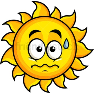 Nervous sun emoticon. PNG - JPG and vector EPS file formats (infinitely scalable). Image isolated on transparent background.
