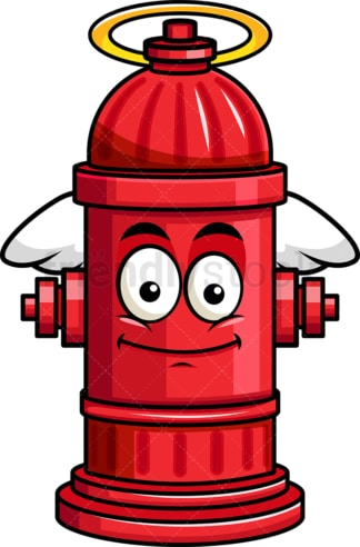With wings and halo fire hydrant emoticon. PNG - JPG and vector EPS file formats (infinitely scalable). Image isolated on transparent background.