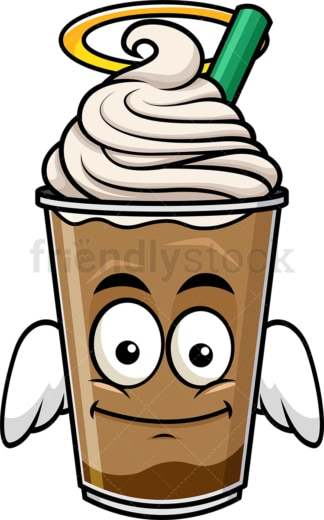 With wings and halo iced coffee emoticon. PNG - JPG and vector EPS file formats (infinitely scalable). Image isolated on transparent background.